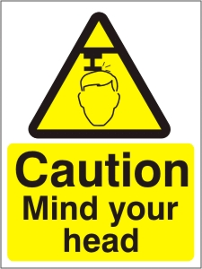 Caution Mind Your Head - Health and Safety Sign (WAG.11)