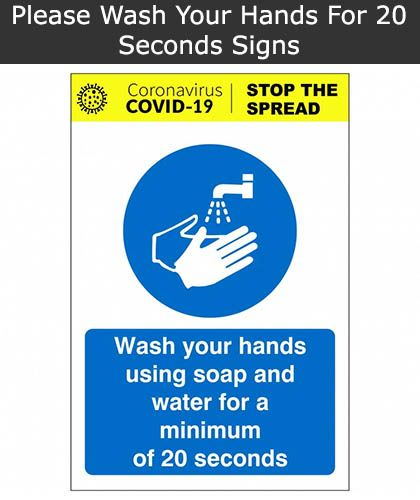 Wash Your Hands For 20 Seconds Sign | SSD