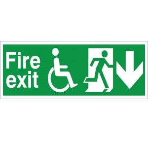 Fire Exit - Refuge - Down Arrow - Health and Safety Sign (FER.04) - Clear and concise Exit signs specifically for disabled employees for only £3.01!